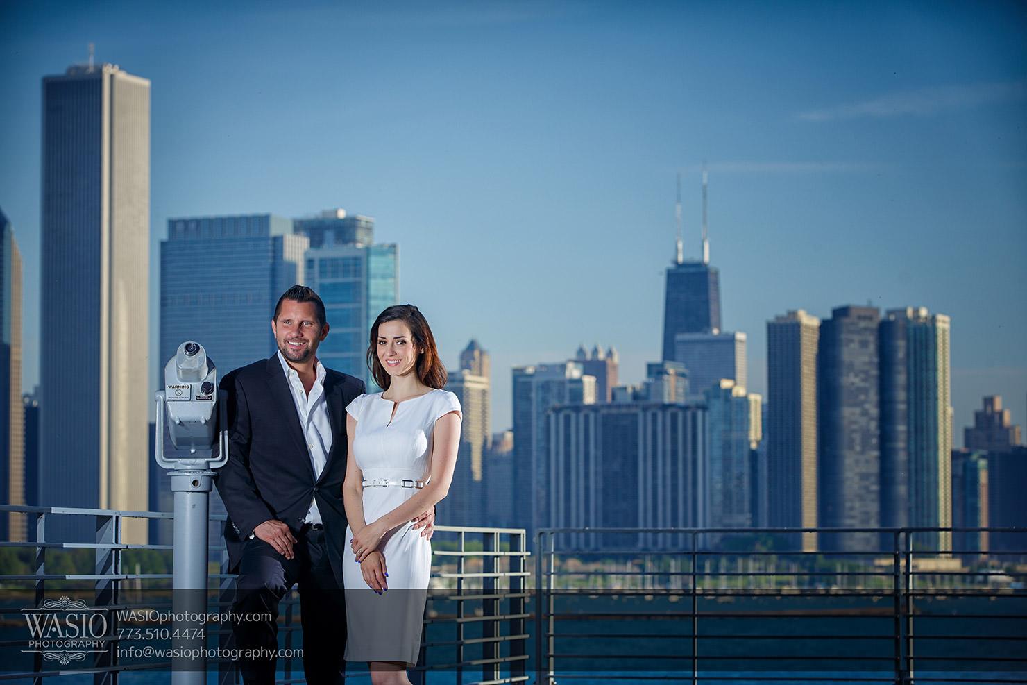 Chicago skyline sunrise engagement – Katherine + Stephen